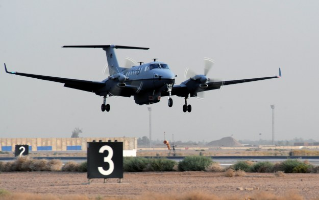 A MC-12 Liberty surveillance aircraft in Iraq. US Air Force photo.