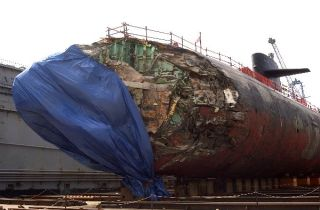 USS San Francisco (SSN 711) in dry dock to assess damage sustained after running aground approximately 350 miles south of Guam Jan. 8, 2005. U.S. Navy Photo