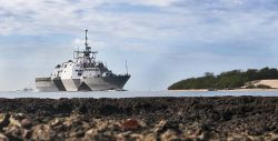 The littoral combat ship USS Freedom (LCS 1) arrives at Joint Base Pearl Harbor Hickam for a scheduled port visit. US Navy Photo