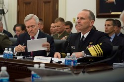Secretary of the Navy Ray Mabus and Adm. Jonathan Greenert estify before the House Appropriations Subcommittee on Defense on Tuesday. US Navy Photo