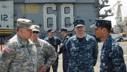 Army Gen. James D. Thurman, commander, United Nations Command, Republic of Korea - United States Combined Forces command, and United States Forces Korea onboard the USS Nimitz (CVN-68) on May, 11 2013. US Navy Photo