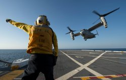 MV-22 Osprey assigned to Marine Medium Tiltrotor Squadron (VMM) 161 as it launches from the flight deck of the Amphibious Transport Dock Ship USS Anchorage (LPD-23) on April 23, 2013.