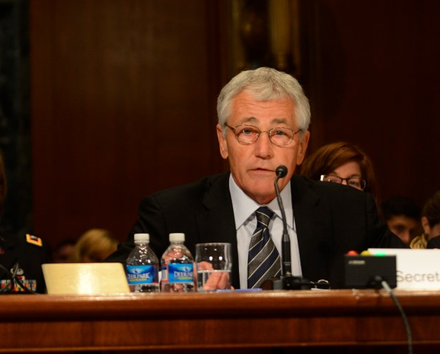 Secretary of Defense Chuck Hagel, right, testifies before the Senate Appropriations Subcommittee on Defense on Tuesday. DoD Photo