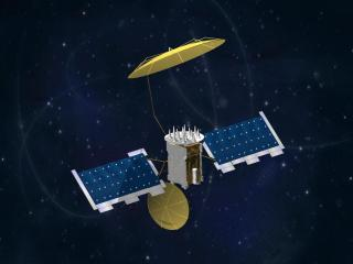 An undated Lockheed Martin artist representation of a MUOS satellite. Lockheed Martin Photo