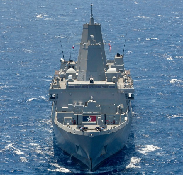 USS San Antonio (LPD 17), part of the Kearsarge Amphibious Ready group, underway on June 16, 2013. US Navy Photo
