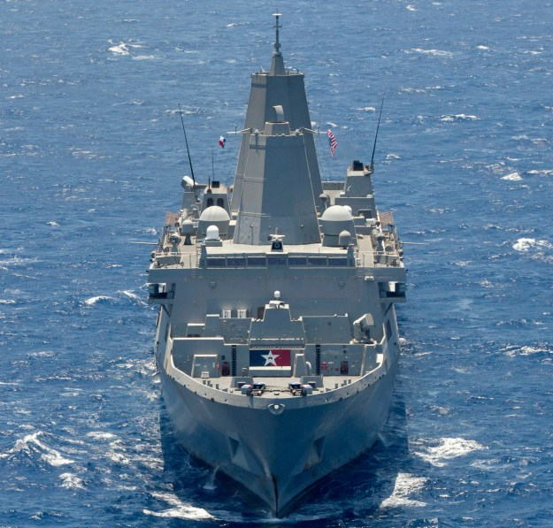 USS San Antonio (LPD 17), part of the Kearsarge Amphibious Ready group, underway on June 16, 2013. US Navy Photo