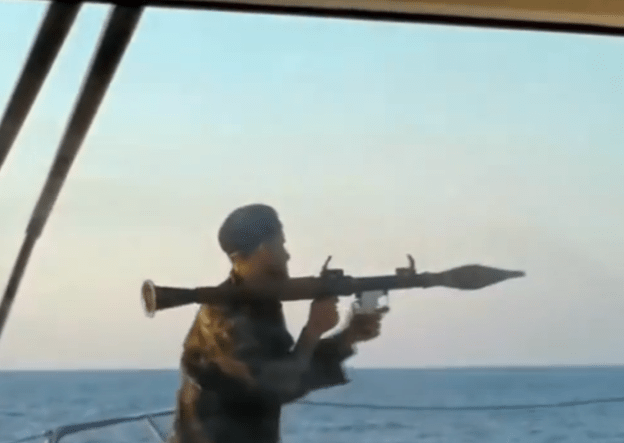 A still from an a video released Thursday of an enforcement of a blockade of LIbyan oil terminals on Aug. 19.