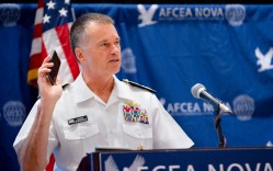 Vice Chairman of the Joint Chiefs of Staff Navy Admiral James A. Winnefeld, Jr. addresses an audience attending the Armed Forces Communications and Electronics Association(AFCEA) 6th Annual Joint Warfighter IT Day.