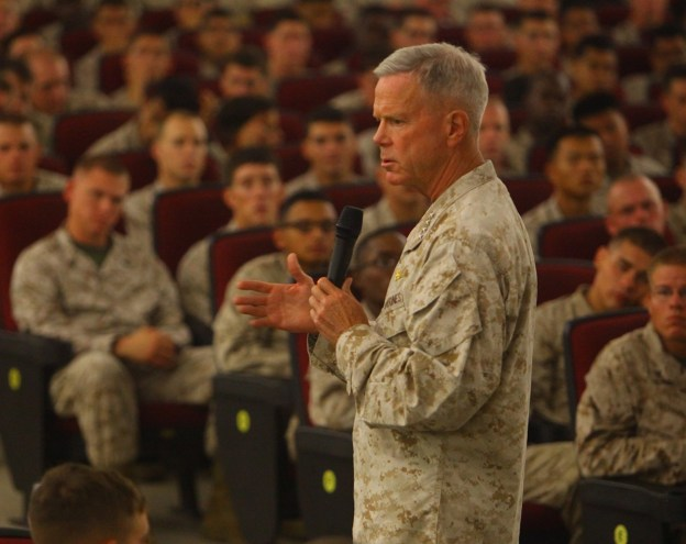 Corps Gen. James F. Amos addresses an audience of Marines on July 18, 2013. USMC Photo