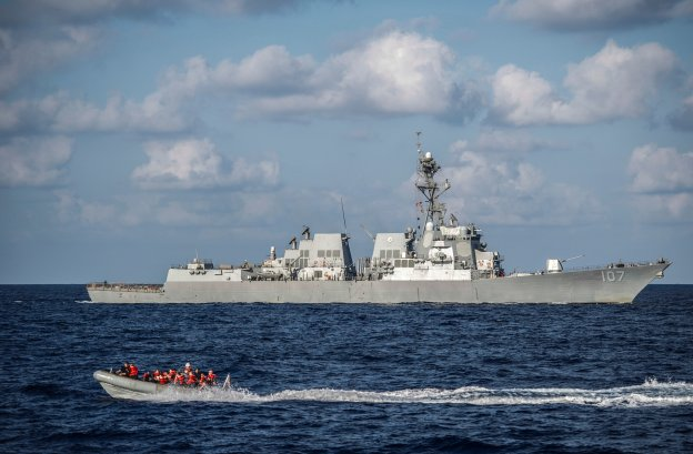 Sailors assigned to the Arleigh Burke-class guided-missile destroyer USS Barry (DDG-52) perform small boat operations alongside the Arleigh Burke-class guided-missile destroyer USS Gravely (DDG-107). US Navy Photo