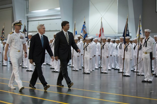 Secretary of the Navy Ray Mabus reviews sailors Recruit Training Command (RTC) on Sept. 13, 2013. US Navy Photo