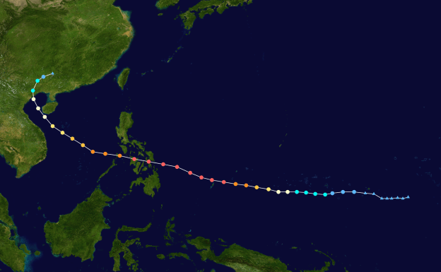 Track map of Typhoon Haiyan of the 2013 Pacific typhoon season. The points show the location of the storm at 6-hour intervals.