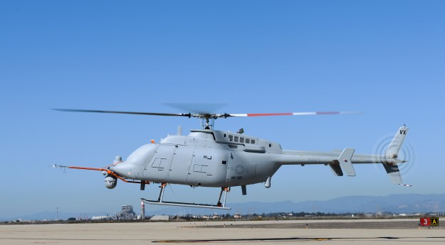An MQ-8C Fire Scout unmanned aerial vehicle takes off from Naval Base Ventura County at Point Mugu on Oct. 31, 2013. US Navy Photo