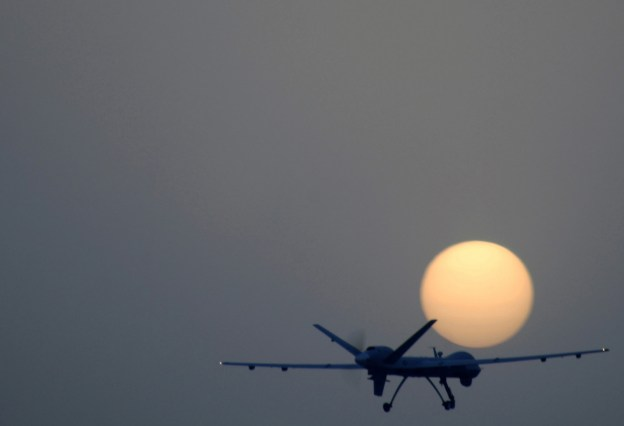 An MQ-9 Reaper remotely piloted aircraft takes off from Joint Base Balad, Iraq in 2007. US Air Force Photo