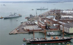 A view of the docks at Portsmouth, U.K.