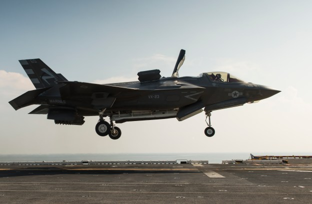 An F-35B Lightning II aircraft lands aboard the amphibious assault ship USS Wasp (LHD-1) in August, 2013. US Navy Photo
