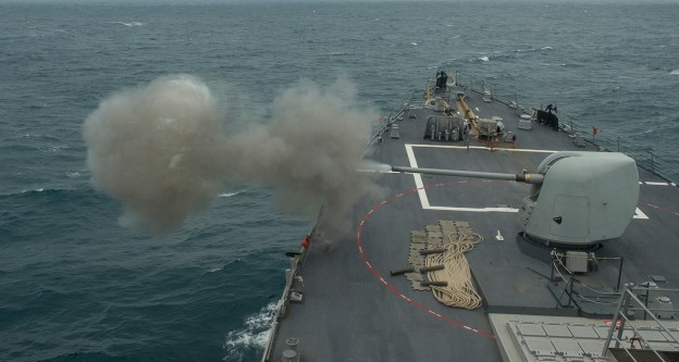 USS Donald Cook (DDG 75) fires its five-inch gun during a weapons exercise on Jan. 16, 2014. US Navy Photo