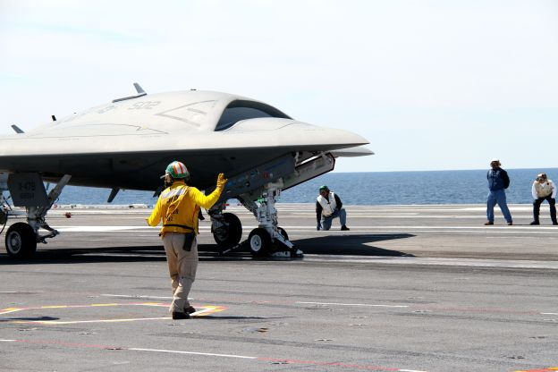The Northrop Grumman X-47B preparing to launch off of USS George H.W. Bush (CVN-77) on May, 2013. US Naval Institute Photo