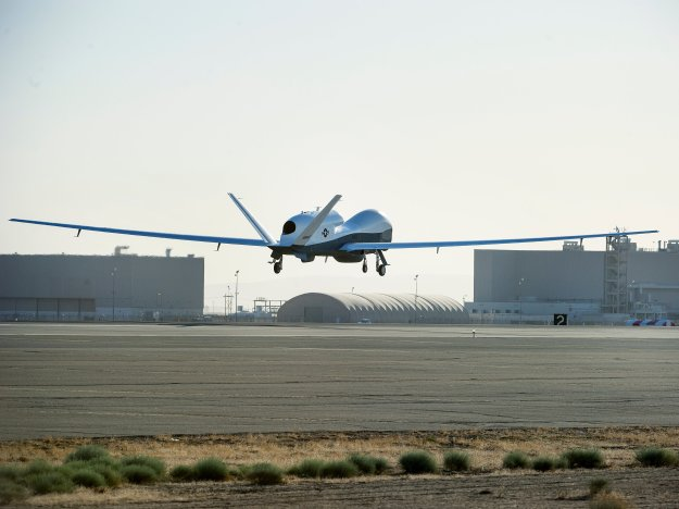Triton unmanned aircraft system completes its first flight May 22, 2013 from the Northrop Grumman manufacturing facility in Palmdale, Calif. Northrop Grumman Photo