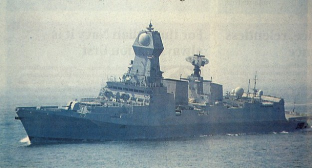 A 2013 newspaper photograph of destroyer Kolkata during sea trials.