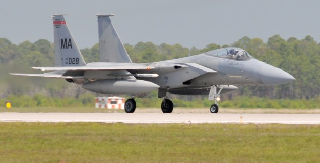 F-15 Eagles from the 104th Fighter Wing, Massachusetts Air National Guard arrive at Tyndall Air Force Base in Florida in 2011. US Air Force Photo