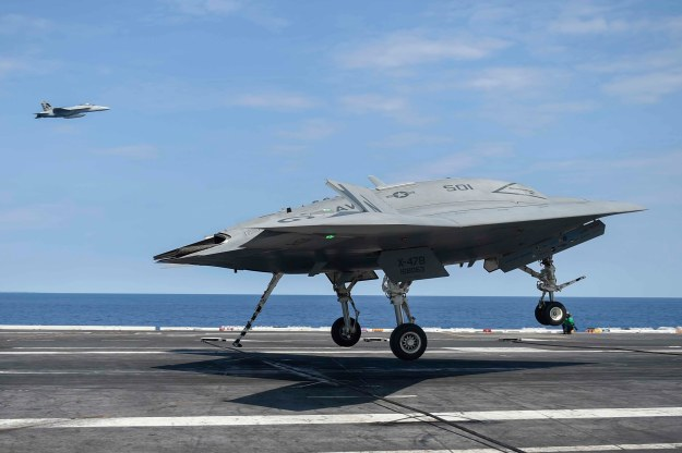The Navy's unmanned X-47B lands aboard the aircraft carrier USS Theodore Roosevelt (CVN-71) on Aug. 17, 2014. US Navy Photo