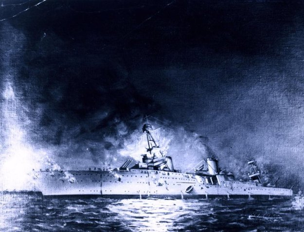 Sinking of USS Houston (CA-30) in the Battle of Sunda Strait, 1 March 1942. Painting by Joseph Fleischman, 1950. Navy History and Heritage Command Photo
