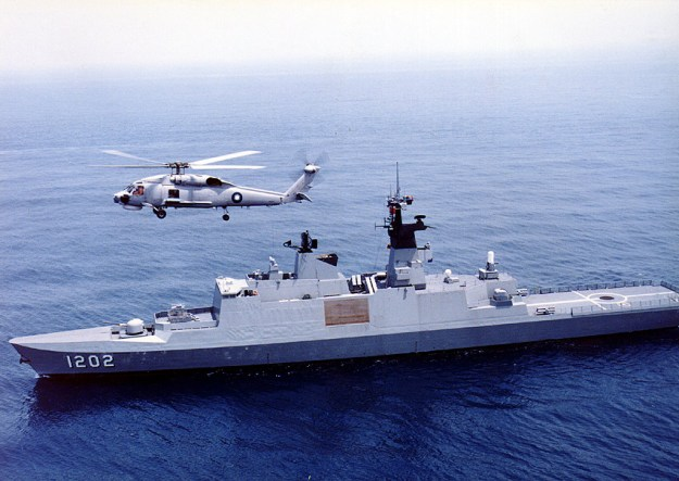 ROC Navy Kang Ding-class (Lafayette-class) frigate with S-70C helicopter. Taiwan Ministry of National Defense Photo