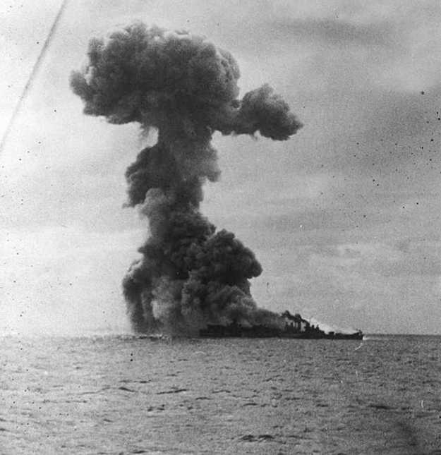 Explosion onboard USS Princeton (CVL-23)