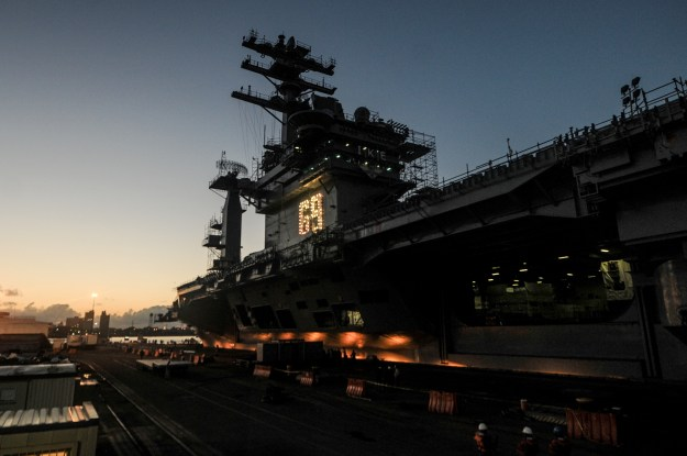 USS Dwight D. Eisenhower (CVN-69) undergoing a scheduled docking planned incremental availability at Norfolk Naval Shipyard on Aug. 26, 2014. US Navy Photo