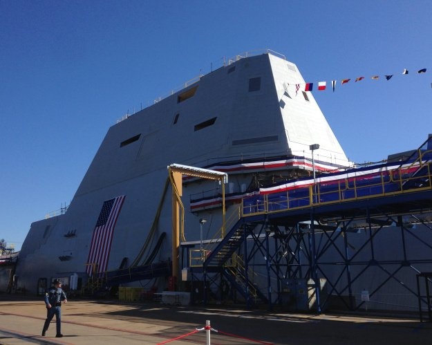 Pre-Commissioning Unit (PCU) Zumwalt (DDG-1000) pierside at General Dynamics Bath Iron Works shipyard in Bath, Maine on April 12, 2013. US Naval Institute Photo