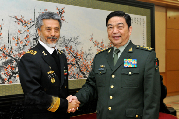 Gen. Chang Wanquan (R), state councilor and Chinese defense minister, meets with Iranian Navy Commander Rear Admiral Habibollah Sayyari (L) in Beijing on the morning of October 23, 2014. Chinese Ministry of National Defense Photo