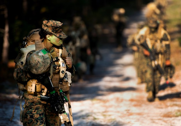 A female Marine participates in Infantry training in 2013. US Marine Corps photo