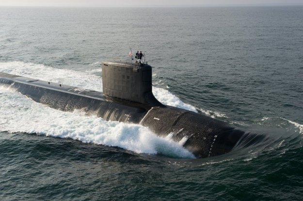 Virginia-class attack boat North Dakota during recent sea trials. US Navy Photo