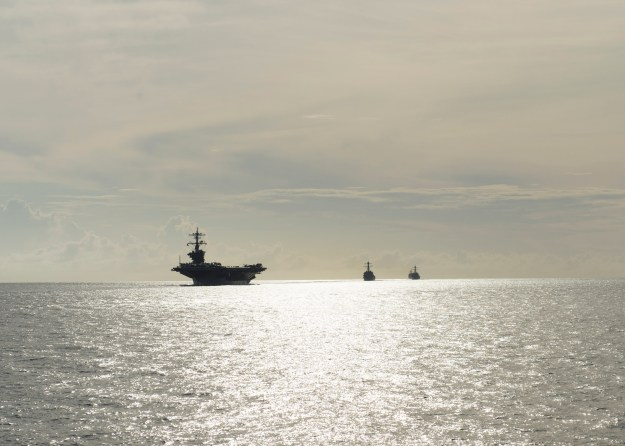 Carl Vinson Carrier Strike Group transits the Surigao Strait on Sept. 27, 2014. US Navy Photo
