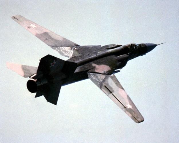 An undated photo of a Soviet era MiG-23 Flogger K via Wikipedia