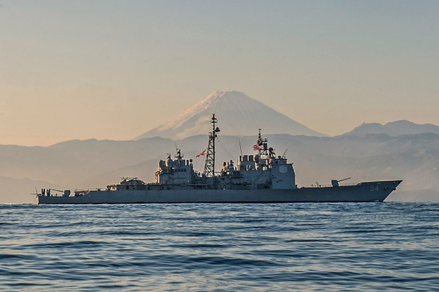 USS Antietam (CG-54) is underway off the coast of Japan near Mt. Fuji. US Navy Photo