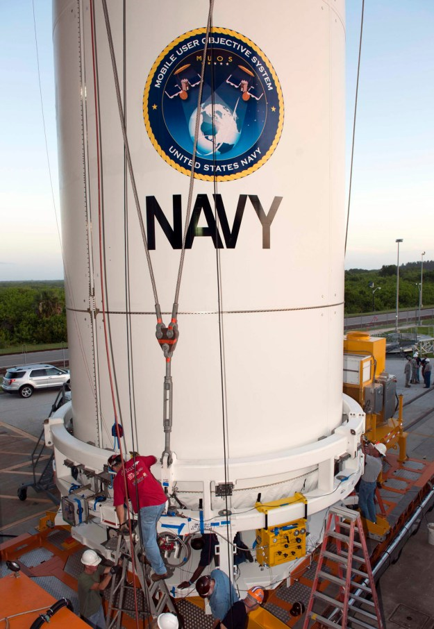 A payload fairing containing the Navy's Mobile User Objective System (MUOS) 2 satellite is mated to an Atlas V rocket in 2013. US Navy Photo