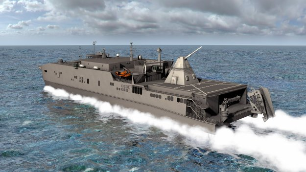 An artist rendering shows the Office of Naval Research-funded electromagnetic railgun installed aboard the joint high-speed vessel USNS Millinocket (JHSV- 3). US Navy Image