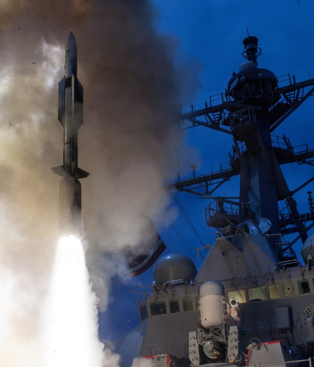 USS John Paul Jones (DDG 53) launches a Standard Missile-6 (SM-6) during a live-fire test of the ship's aegis weapons system on June 19, 2014. US Navy Photo
