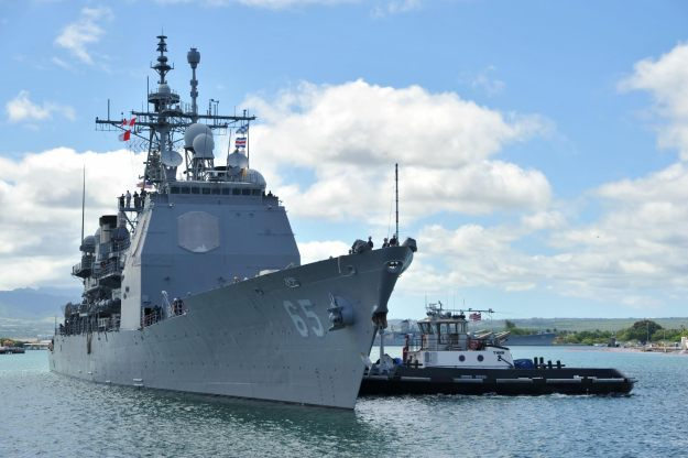 Ticonderoga-class guided-missile cruiser USS Chosin (CG 65) prepares to moor on June 24, 2014. US Navy Photo