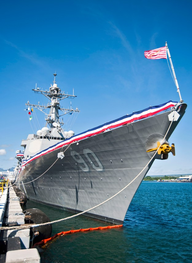 USS Chafee (DDG-90) on 2014. Chafee is one of five Arleigh Burke destroyers that won't receive a ballistic missile defense (BMD) upgrade do to a reduction of funding as part of the Navy's FY 2016 budget request. US Navy Photo