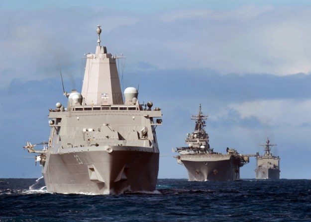 Essex ARG consists of the Wasp-class amphibious assault ship USS Essex (LHD-2), the San Antonio-class transport dock ship USS Anchorage (LPD-23), and the Whidbey Island-class amphibious landing dock ship USS Rushmore (LSD-47) on Feb. 28, 2015. US Navy Photo