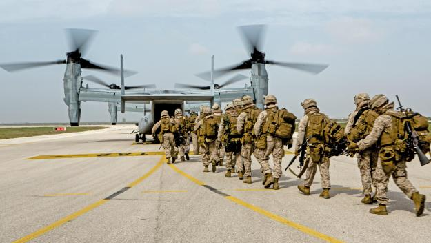 U.S. Marines with Special-Purpose Marine Air-Ground Task Force Crisis Response-Africa board an MV-22 Osprey during an alert force drill on Moron Air Base, Spain, March 13, 2015. US Marine Corps photo.