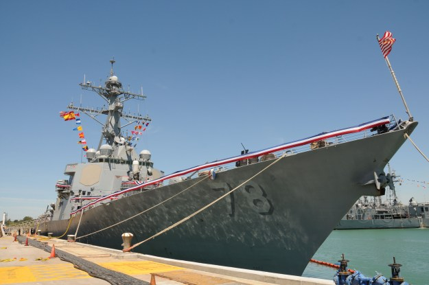 The Arleigh Burke-class guided-missile destroyer USS Porter (DDG 78) arrives at Naval Station Rota, Spain on April 30, 2015. US Navy photo.