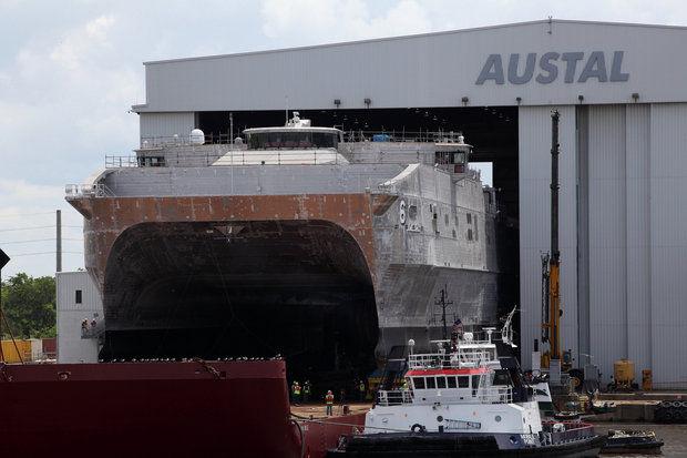 JHSV Brunswick launches from Austal USA's Mobile yard. Austal USA Photo