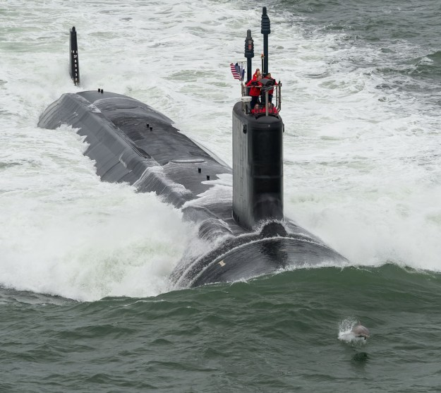 Attack Submarine John Warner (SSN-785) during May 2015 sea trials HII Photo by Chris Oxley