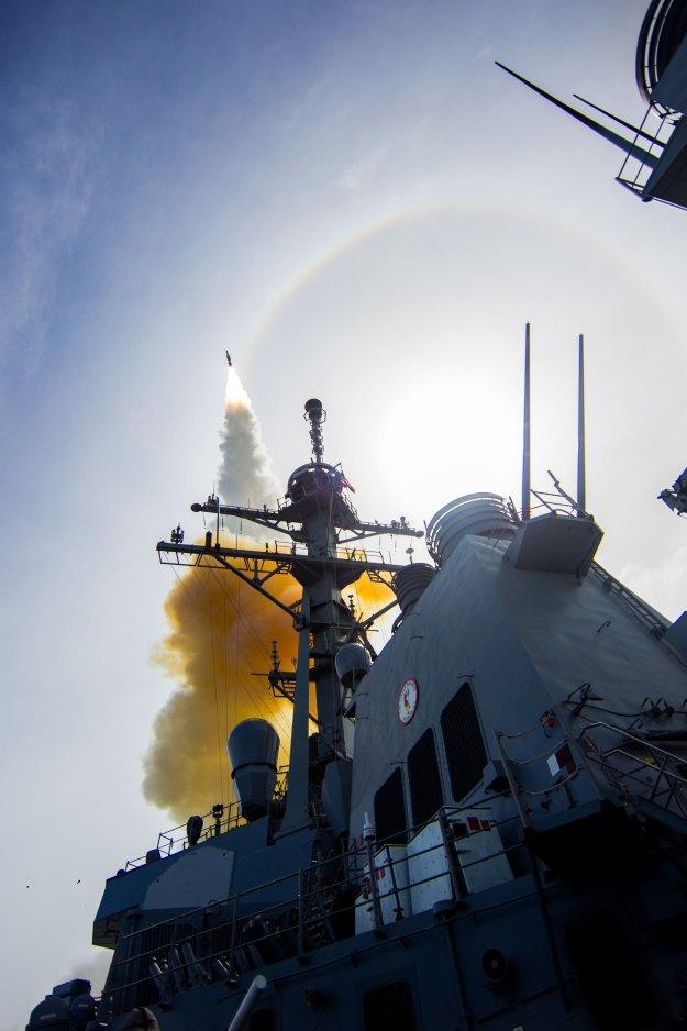 USS John Paul Jones (DDG-53) conducts a flight test from the Pacific Missile Range Facility on Kauai, Hawaii. US Navy Photo