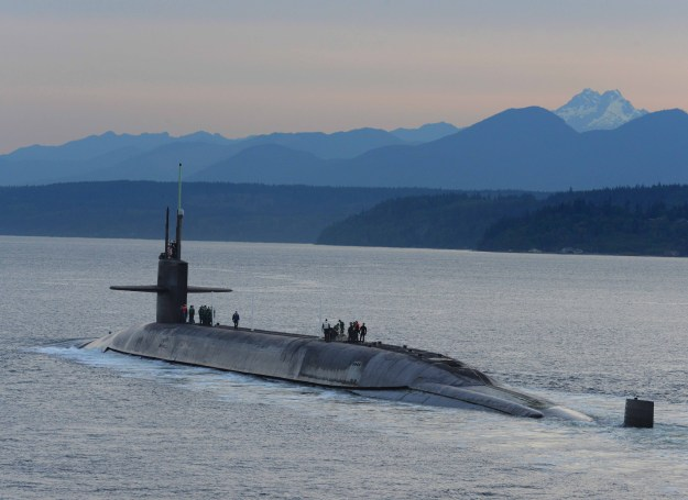 The ballistic-missile submarine USS Henry M. Jackson (SSBN 730) arrives home at Naval Base Kitsap-Bangor following a strategic deterrent patrol on May 5, 2015. US Navy photo.