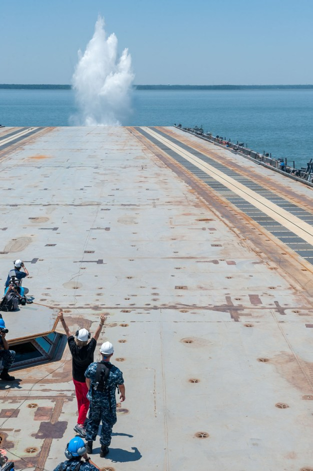Dead load launched from Gerald R. Ford (CVN-78) during EMALS testing. HII Photo